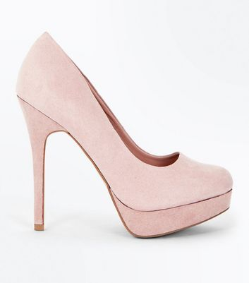 Nude Suedette Platform Court Shoes