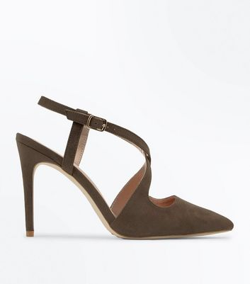 Khaki Suedette Cross Strap Pointed Heels