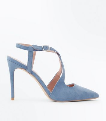 Pale Blue Suedette Cross Strap Pointed Heels