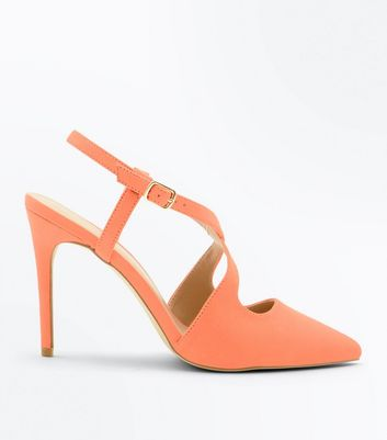 Coral Suedette Cross Strap Pointed Heels