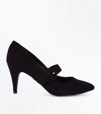 Black Suedette Buckle Strap Pointed Courts