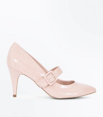 Nude Patent Buckle Strap Pointed Courts