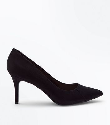 Black Suedette Stitch Front Pointed Courts