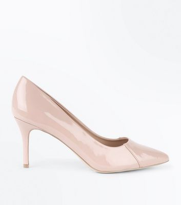 Nude Patent Seam Side Pointed Court Shoes