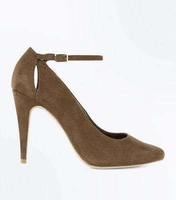 Khaki Suedette Keyhole Back Pointed Courts