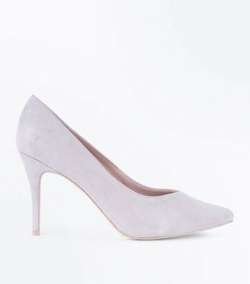 Grey Sweetheart Pointed Court Shoes