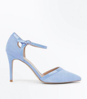 28cc3bc43 Pale Blue Suedette Patent Trim Pointed Heels