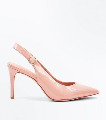 Nude Patent Circle Buckle Sling Back Pointed Heels