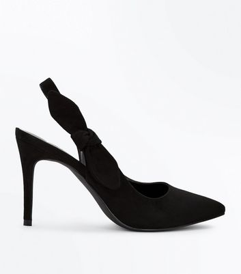 Black Suedette Bow Side Sling Back Pointed Heels