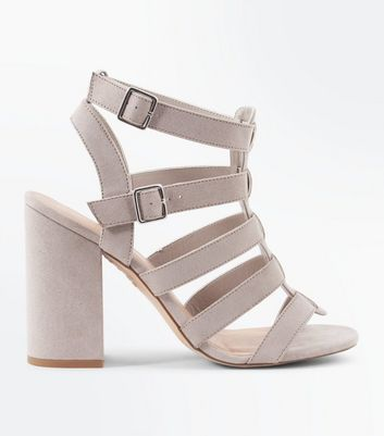 Grey Suedette Block Heel Gladiator Sandals