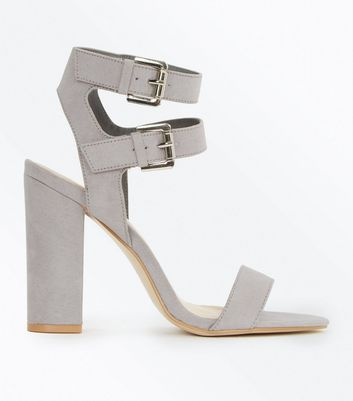 Grey Suedette Double Ankle Strap Heeled Sandals