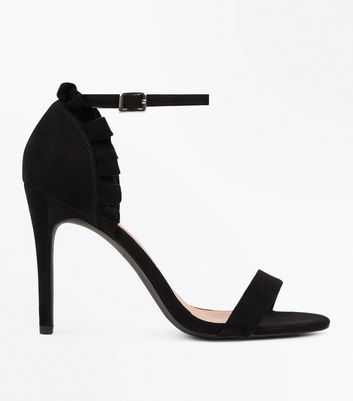 Black Suedette Frill Back Stiletto Heel Sandals by New Look
