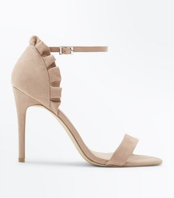 Nude Suedette Frill Back Stiletto Heel Sandals