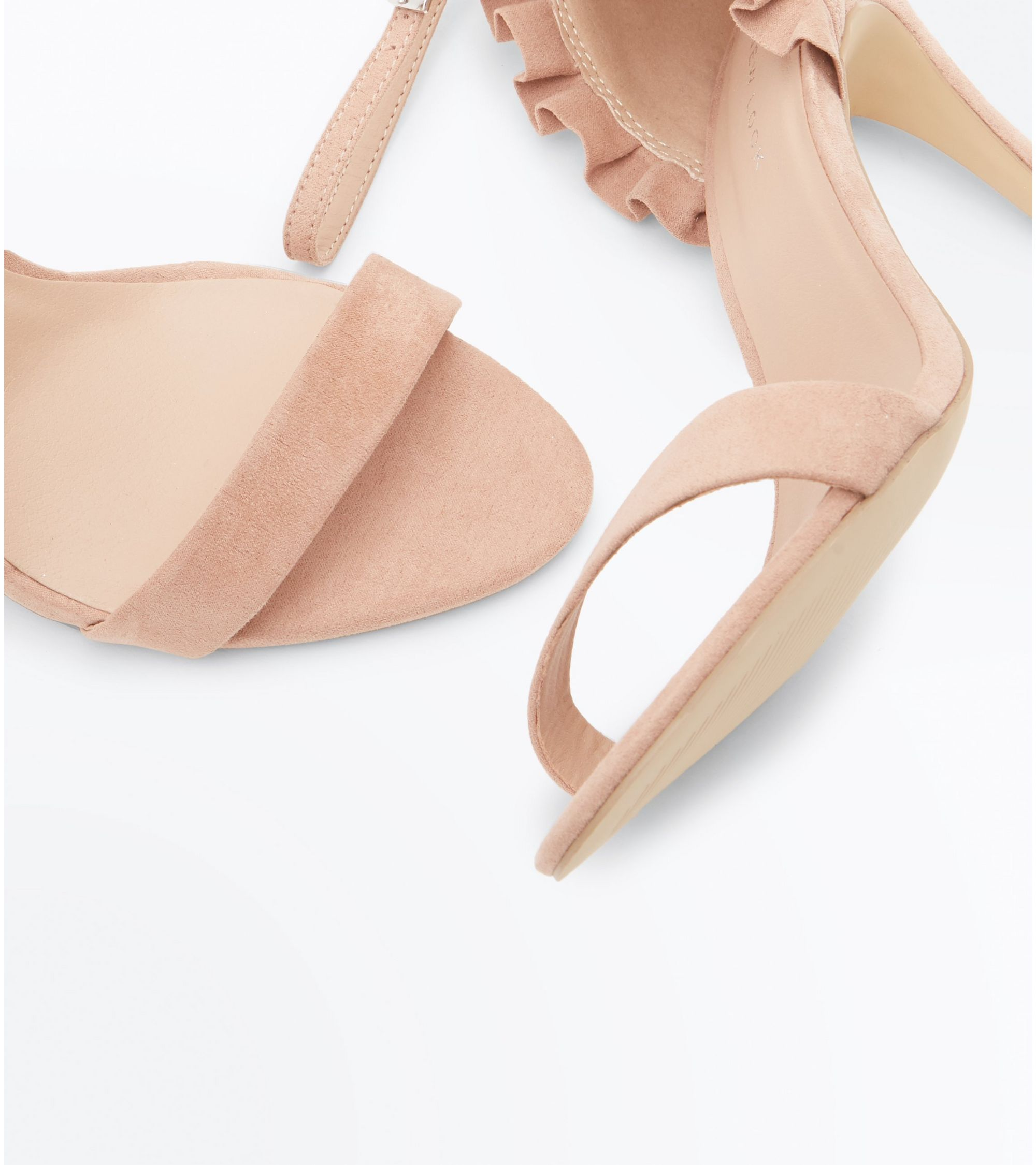 ece08bb32a New Look Nude Suedette Frill Back Stiletto Heel Sandals at £14 ...