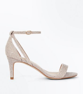 Gold Glitter Cut Out Side Stiletto Sandals