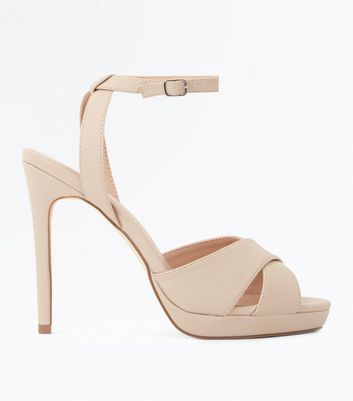 Nude Cross Strap Platform Stiletto Sandals