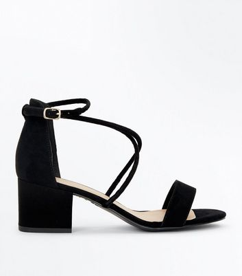 Black Suedette Strappy Low Block Heel Sandals