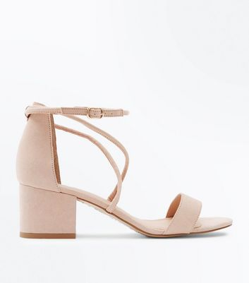 Nude Suedette Strappy Low Block Heel Sandals