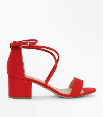 Red Suedette Strappy Low Block Heel Sandals