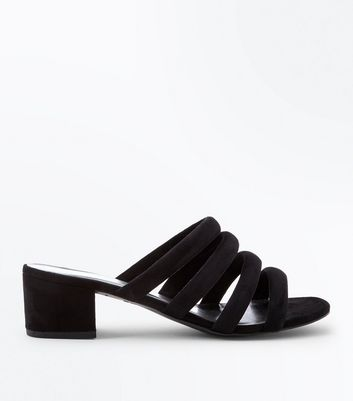Black Suedette Piped Strap Heeled Mules