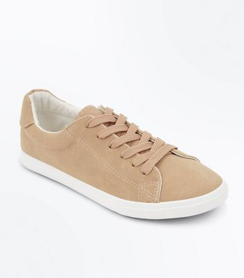 Camel Suedette Lace Up Trainers