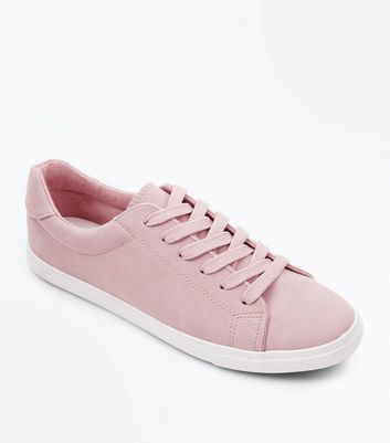 Pink Suedette Lace Up Trainers