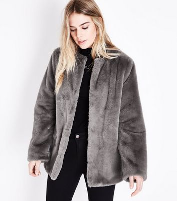 Grey Faux Fur Teddy Jacket