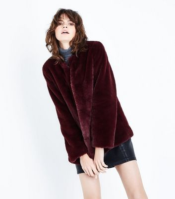 Burgundy Faux Fur Teddy Jacket