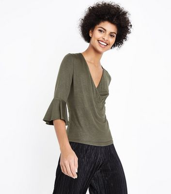 Khaki Bell Sleeve Wrap Front Top