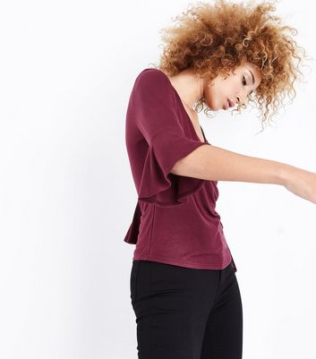 Burgundy Bell Sleeve Wrap Front Top