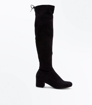 Teens Black Suedette Over the Knee Boots