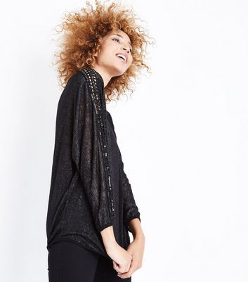 Mela Black Sequin Batwing Sleeve Jumper