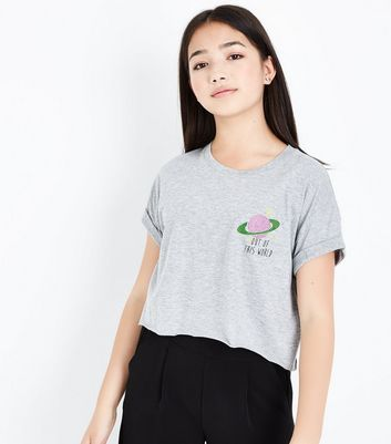 Teens Grey Out Of This World Embellished T-Shirt