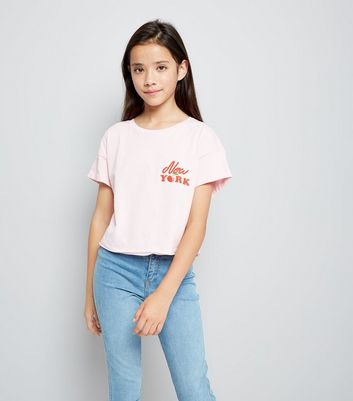Teens Pink New York Cherry Cropped T-Shirt