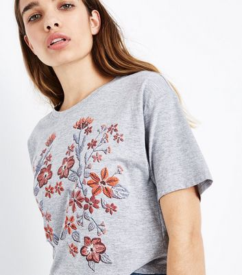 Grey Floral Puff Print CroppedT-Shirt