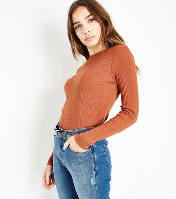 Rust Ribbed Long Sleeve Top