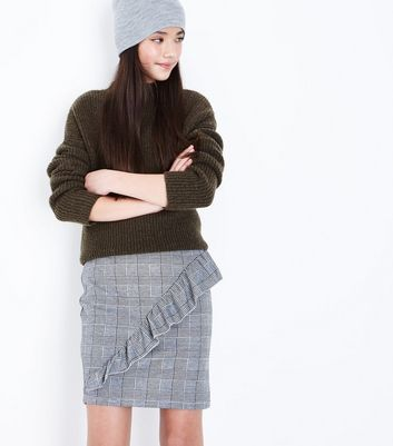 Teens Black Prince of Wales Check Frill Skirt