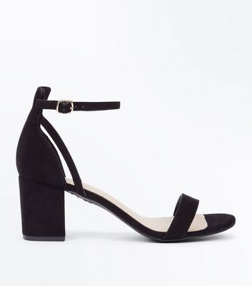 Black Comfort Flex Suedette Block Heel Sandals