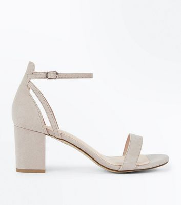 Grey Comfort Flex Suedette Block Heel Sandals