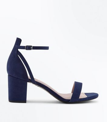 Navy Comfort Flex Suedette Block Heel Sandals