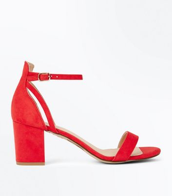 Red Comfort Flex Suedette Block Heel Sandals