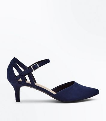 592ca55754 Shoptagr | Wide Fit Navy Comfort Flex Suedette Pointed Kitten Heels by New  Look