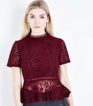Tall Burgundy Mixed Lace Peplum Hem Top