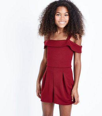 Teens Burgundy Cold Shoulder Crepe Playsuit