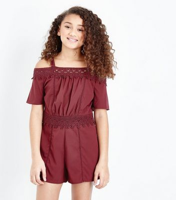 Crochet Trim Burgundy Playsuit