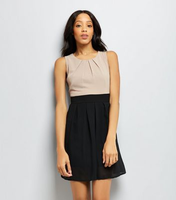 Apricot Stone Colour Block Tie Waist Dress