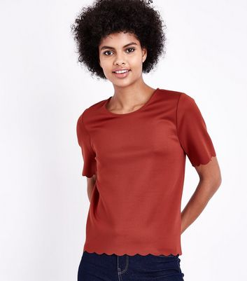 Tall Rust Scallop Hem Scuba T-Shirt