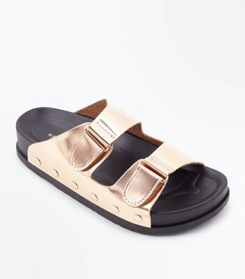 Rose Gold Double Strap Stud Side Sliders
