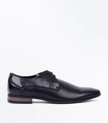 Black Perforated Lace Up Formal Gibson Shoes