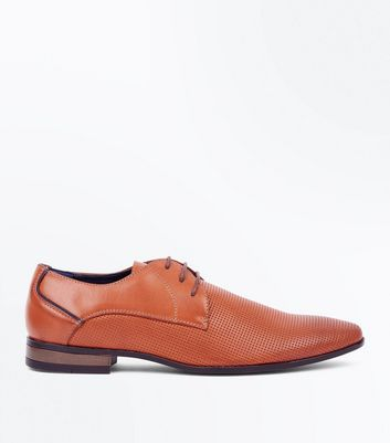 Tan Lace Up Formal Gibson Shoes